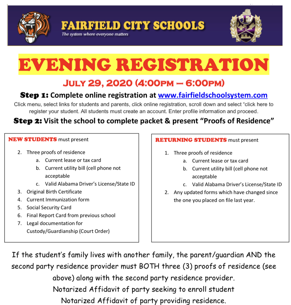 Evening Registration 7/29/20