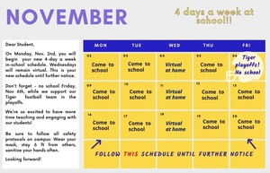 PreK - 8th graders move to four days a week!