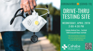 COVID-19 Testing in Fairfield Wednesday, April 29th