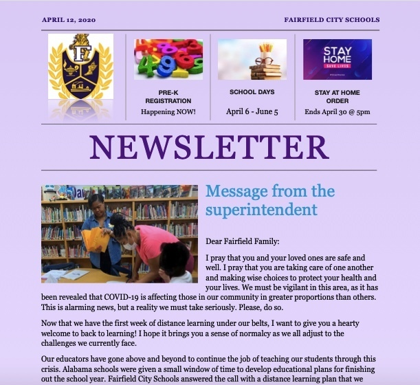 Snapshot of first newsletter