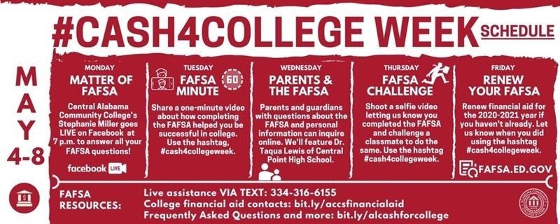 Cash for college schedule